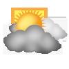 """Tagsymbol, Symbolcode """"d"""", Viele Wolken, etwas Sonne"""