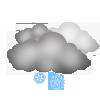 """Tagsymbol, Symbolcode """"o"""", Mäßiger Schneefall ohne Sonne"""
