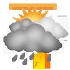 """Tagsymbol, Symbolcode """"u"""", Sonne, Wolken, Regenschauer, Gewitter möglich"""