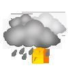 """Tagsymbol, Symbolcode """"v"""", Dichte Wolken, krätige Regenschauer und Gewitter wahrscheinlich"""
